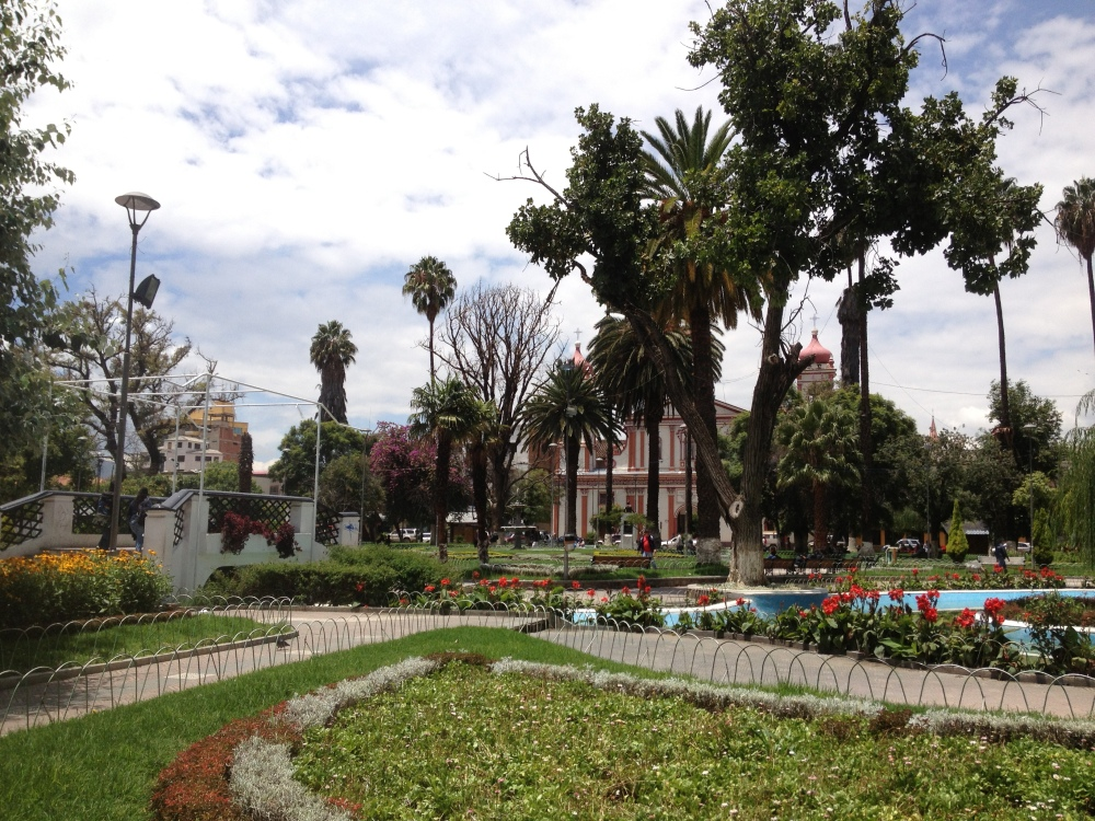 "A ""plaza"" or park; there is one every few blocks in Cochabamba!"