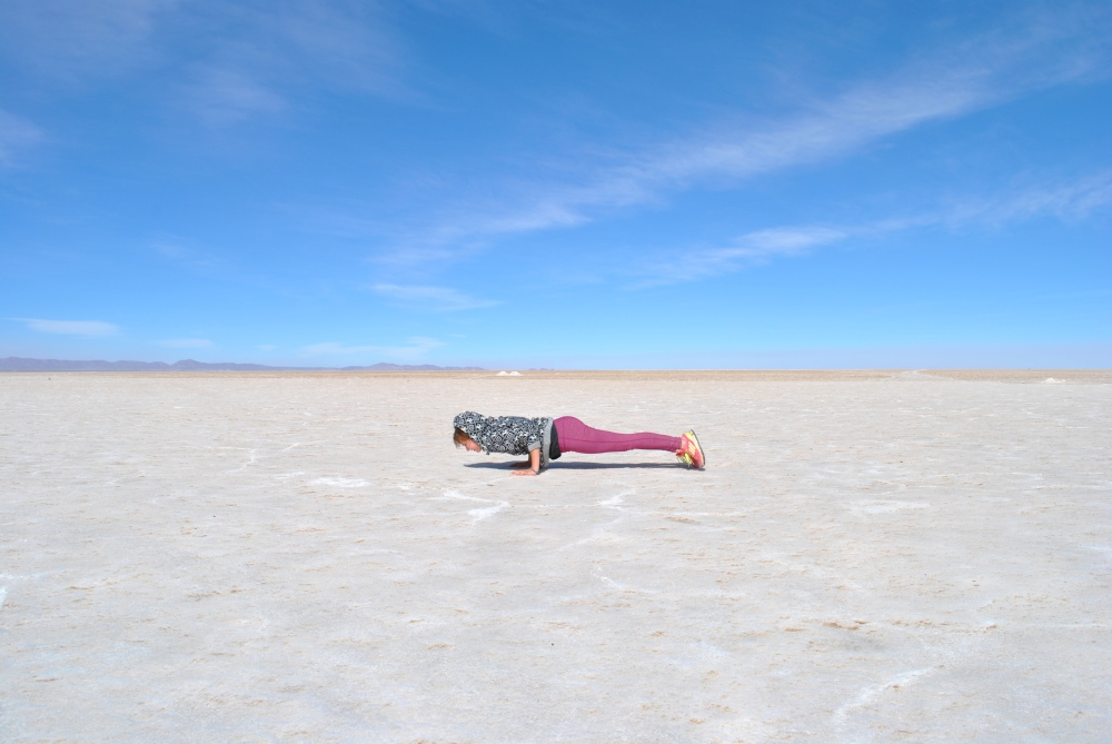 Chaturanga Dandasana in Uyuni on the salt flats!